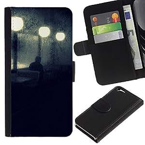 KLONGSHOP // Tirón de la caja Cartera de cuero con ranuras para tarjetas - Calle de la noche luces de la lámpara azul triste - Apple Iphone 6 //