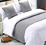 YIH Bed Runner Grey 3 Pcs Set, Luxury Bedding Scarf Pad Decorative Table Runner Bed Protector Slip Cover for Pets, 1 Bed Runner + 2 Cushion Cover, 102 Inches by 19 Inches