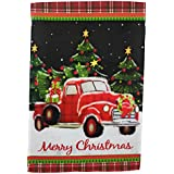 Winter Garden Flag 12 inches by 18 inches Double Sided Reads Correctly Both Sides (Red Christmas Truck with Plaid Trim)