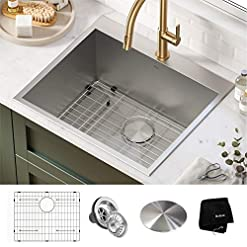 Kitchen Kraus KHT301-25L Standart PRO Dual Mount Drop-In 16 Gauge Stainless Steel Single Bowl Laundry Utility Sink, 25 Inch… modern kitchen sinks