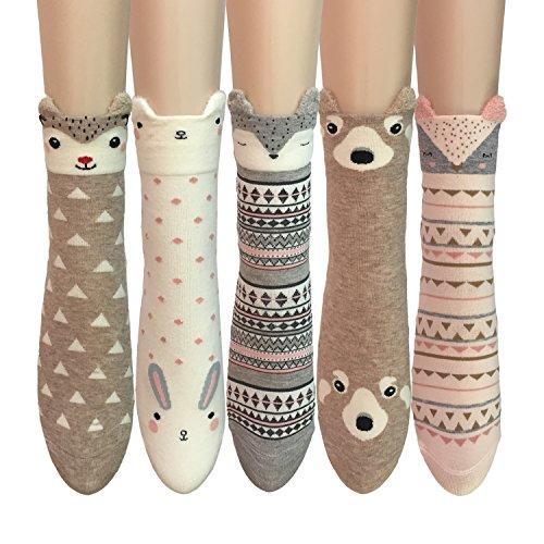 Oureamod Cartoon Animal Womens Girls Cotton Crew Socks 5 Pack (US(5-9), Cute ears (Girl Cute Animal)