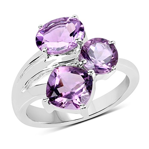 2.73 Carats Genuine Brazilian Amethyst Ring Solid .925 Sterling Silver With Rhodium Plating