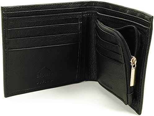 Mens Leather Wallet Zipper Coin Purse 6 Card Slots 3 More Pockets 2 Bill Section