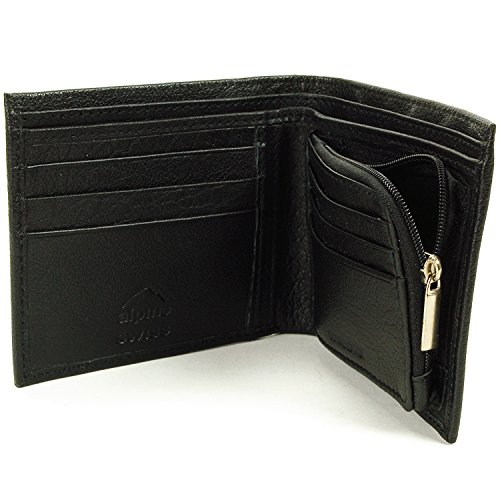 Mens Leather Wallet Zipper Coin Purse 6 Card Slots 3 More Pockets (3.875 Pocket)