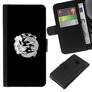 JackGot ( Dragon Fight Totem Tattoo ) HTC One M9 la tarjeta de Crédito Slots PU Funda de cuero Monedero caso cubierta de piel