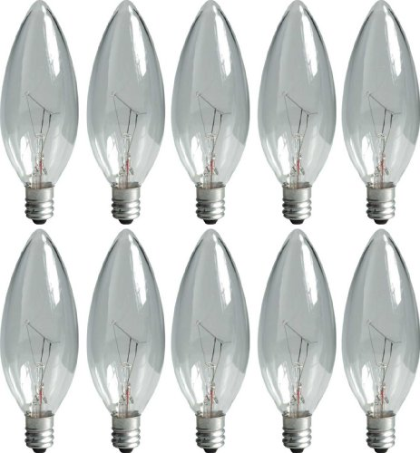 GE Lighting Crystal Clear 74974 15-Watt, 95-Lumen Blunt Tip Light Bulb with Candelabra Base, 10-Pack ()