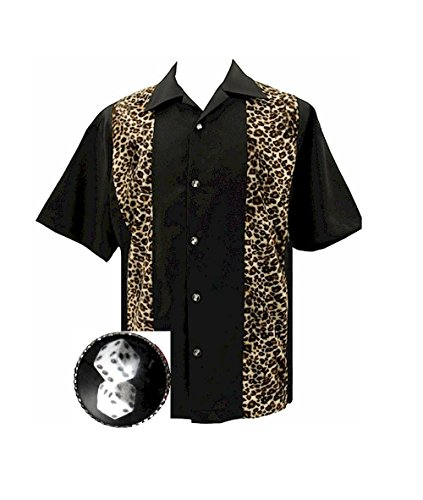 Leopard & Dice Men's Bowling Rockabilly Retro Shirt ~ Leopard & (Vegas Bowling Shirt)
