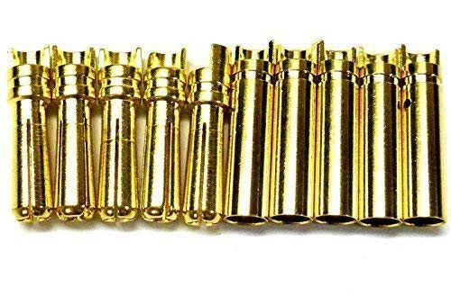 C0405Nx5 RC Connector 4mm Gold Plated Male and Female Bullet Banana x 5 Set BSP