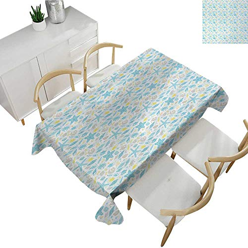 Starfish,Decor Collection Table Cloths Maritime Themed Dotted Seashells Seastar and Swirls Aquatic Animals Pattern Waterproof Table Cover for Kitchen Taupe Blue Yellow 60
