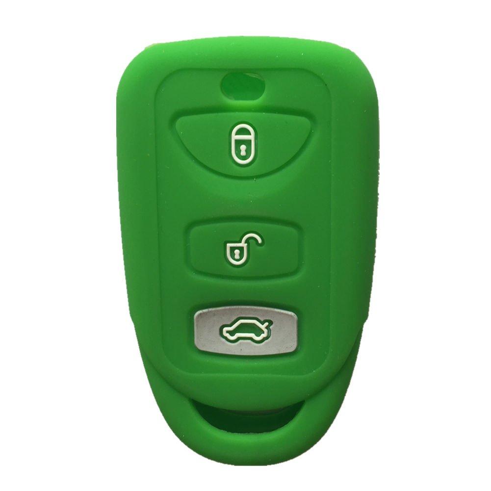 カラー 3ボタン シリコーン キーフォブケース カバー ジャケット キースキン ヒュンダイ キアに適合 グリーン EZ 2320 B01FPRTYDQ グリーン グリーン