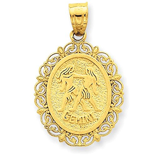 Gold Gemini Zodiac Pendant (14k Yellow Gold Solid Satin Polished Gemini Zodiac Oval Pendant 25mmx18mm)