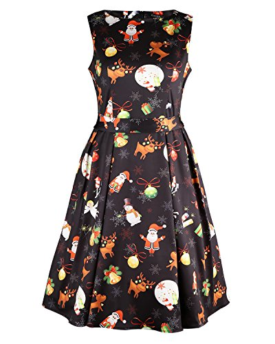 OUGES Women's Fit and Flare Cocktail Dress(Black Xmas-02,XL)]()
