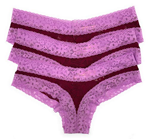 Victoria's Secret The Lacie Bow Cheeky Panty Set of 3 Lavender Wine Small ()