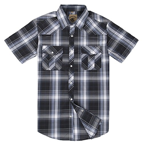 omfortable Work Sport Short Sleeve Plaid Button Down Shirt Snap Front Relaxed Fit (#9black&gray M) (Short Sleeve Pearl Snap)