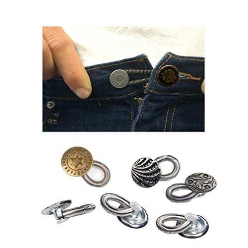 nity Elastic Spring Jeans Denim Waist Metal Pants Extender Button Perfect Fit Button for Maternity Wear ()