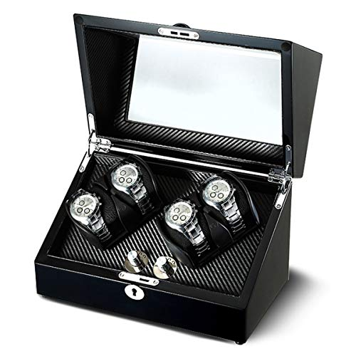 - OLYMBROS Wooden Double Rotors Automatic Watch Winder Storage Boxes for 4 Watches with LED Light