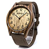Bewell Casual Natural Wood Watch for Men Round Dial Quartz Analog Canvas Band W124B (Zebra Wood)