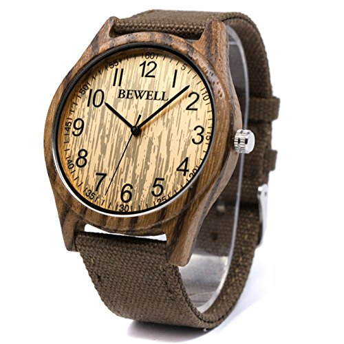 Bewell Casual Natural Wood Watch for Men Round Dial Quartz Analog Canvas Band W124B (Zebra Wood) (Wood Rounds For Sale)