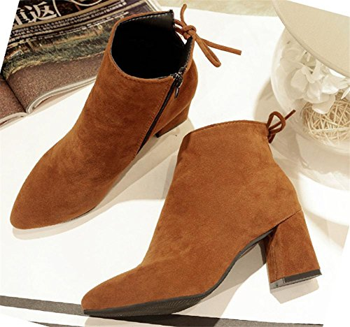 Women's Boots EUR38UK55 Rough Heel Suede Work Party Cashmere Winter Warm Plus Fall Short tie Black NVXIE Bow Brown BROWN dUxqEAw1d