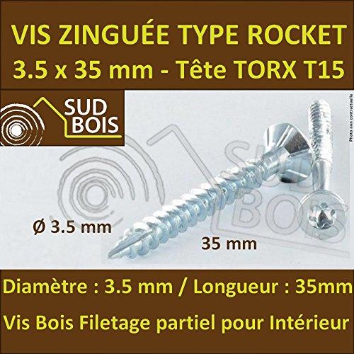 200 Vis Bois 3.5x35 TORX T20 Zingu/ée Pointe Anti-Fendage type Rocket