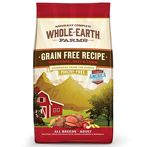 - Whole Earth Farms Grain Free Recipe Dry Dog Food, Pork, Beef & Lamb, 25-Pound
