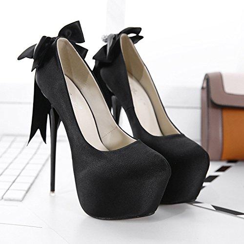 LvYuan-mxx Los zapatos de los altos talones de las mujeres / verano del resorte / plataforma impermeable Bowknot atractivos de la superficie del satén / cargadores frescos / oficina y vestido del banq BLACK-38
