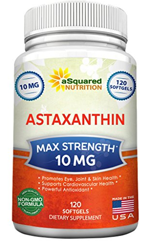aSquared Nutrition Astaxanthin Supplement - Pure Natural Astaxanthin Pills from Haematococcus Pluvialis Extract - Max Strength 10mg - 120 Softgels (Best Astaxanthin Supplement Brand)