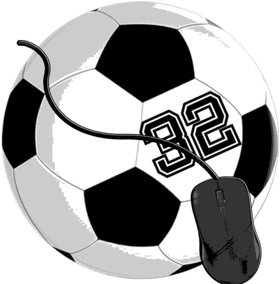 QCFW Alfombrilla de Ratón Futbolista 32 No 32 Pelota de Futbol ...