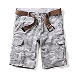 OCHENTA Men's Lightweight Camo Pattern Cargo Shorts Gray 36