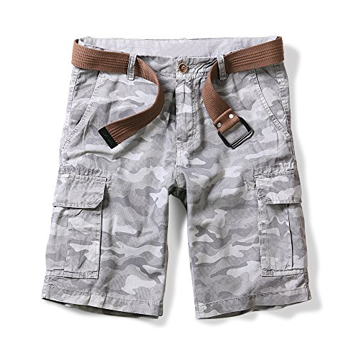OCHENTA Men's Lightweight Camo Pattern Cargo Shorts Gray 42