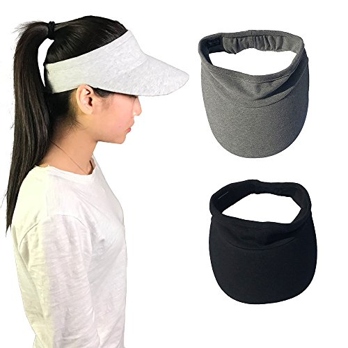Visor Womens Tennis - Xingo Elastic Sun Hat Visors Hat for Women Men in Outdoor Sports Jogging Running Tennis Pale Grey size 10