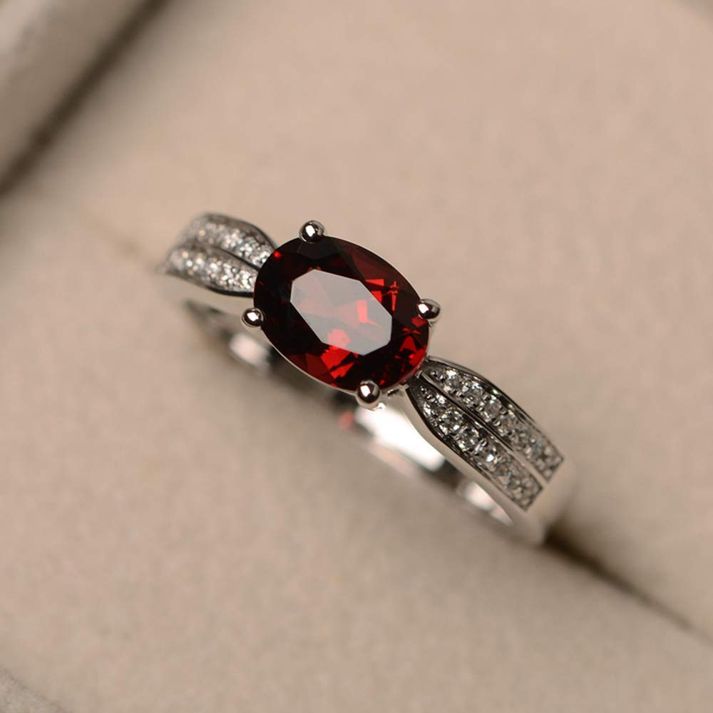 Garnet Ring Silver Wide Sterling Silver Ring Birthday Gift for Her Sage Leaf Ring Silver Ring with Stone Sterling Silver Ring for Women