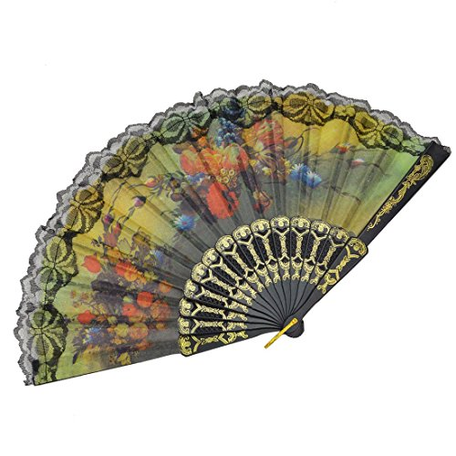 Windspeed Spanish Women Floral Folding Hand Fan Size 9'' Pack of 10 Pieces Random Color by Windspeed (Image #6)