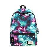 HEYFAIR Women Men Galaxy Pattern Nylon Backpack School College Bags Travel Daypack