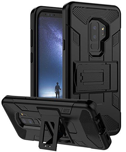 Samsung Galaxy S9 Plus Case Heavy Duty Three Layer Shock Absorption Protection Kickstand Black