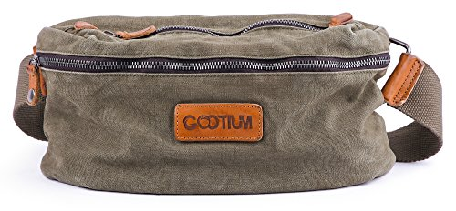 Gootium Crossbody Sling Bag - Canvas Chest Backpack Vintage Fanny Pack, Army Green