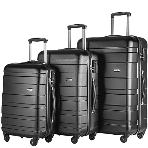 Merax Afuture 3 Piece Set Lightweight Luggage Spinner Suitcase (Black) by Merax