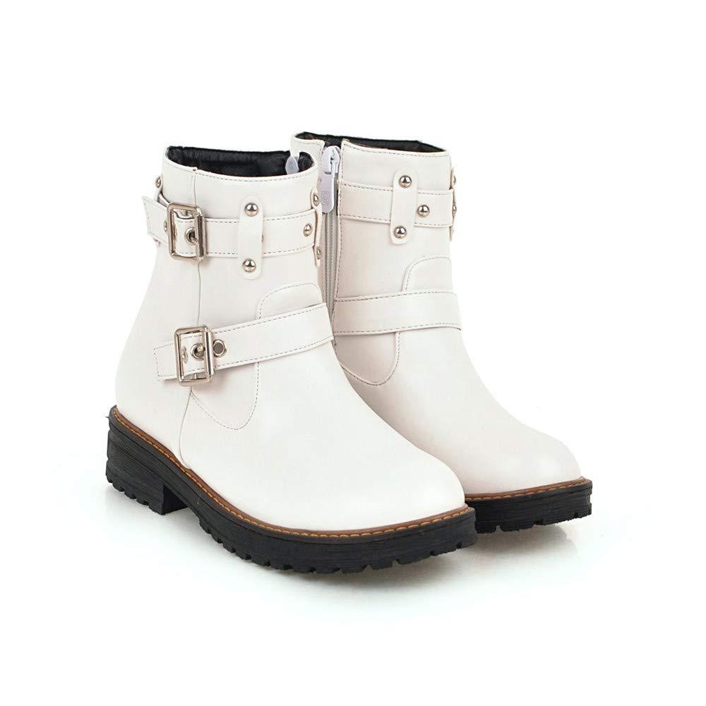 ZARLLE_Botas Botines Cortos de Mujer,ZARLLE Botines Chelsea Mujer Zapatos de Cuero Planos con Hebilla de Ocio para Mujer Color sólido Tubo Corto Martin ...