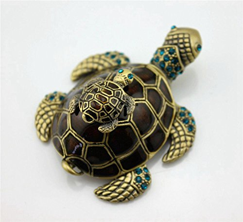 SY Crafts Vintage Enamel Bejeweled Mom&Son Sea Turtle Trinket Box with Blue Crystals Bejeweled Turtle