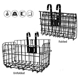 HOMEE Folding Rear Bike Basket Wire Mesh Fold-Up Detchable Front Bag Rear Hanging Bike Basket Bicycle Bag Cargo Rack for Mountain Bike Accessories Bike Frame Basket 1 Pack