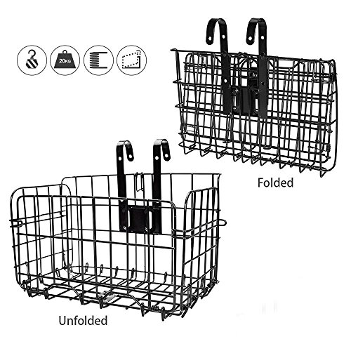 - HOMEE Folding Rear Bike Basket - Wire Mesh Detachable Front Bag, Handlebar Basket Rear Hanging Bicycle Bag Cargo Rack for Mountain Bike Accessories Storage Frame 1 Pack Gift for Father's Day