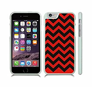 iStar Cases? iPhone 6 Plus Case with Chevron Red/ Black Pattern Stripe , Snap-on Cover, Hard Carrying Case (White)