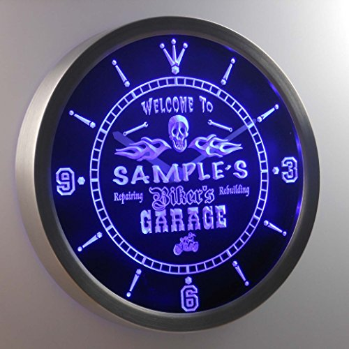 Ncqu Tm Personalized Name Bikers Skull Garage Motorcycle Neon Sign Led Wall Clock
