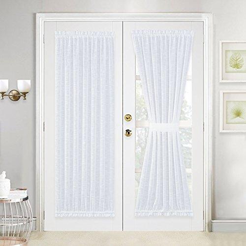 Linen Textured Look Door Panel - Voile Door Panel Curtain Sheer for Patio / Sliding Glass Door with One Bonus Tieback by NICETOWN, 52