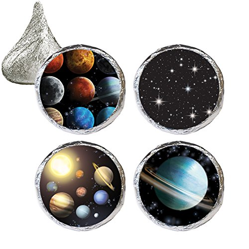 Outer Space Party Favor Stickers, 324 Count Chocolate Lollipops Birthday Favors