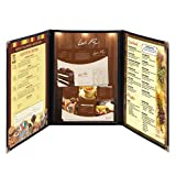 Yescom 30 Pack Triple Fold Menu Covers 8.5''x14'' Protective Double Stitch View Black Restaurant Cafe