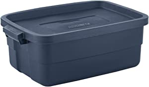 Rubbermaid Roughneck Storage Tote, 10 Gal, Dark Indigo Metallic, Pack of 8, Rugged, Reusable, Stackable, Container