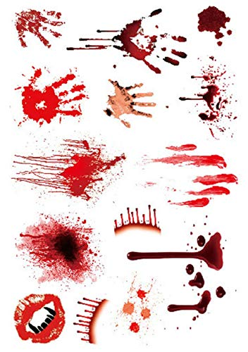 Wall Art - Zombie Makeup Halloween Scars Tattoos Wounds Make Up Face Paint - Halloween Supplies Scab Bloody Makeup Zombie Tattoos Terror Wound Scary Bloody Sticker - Halloween Zombie Makeup - 1PCs