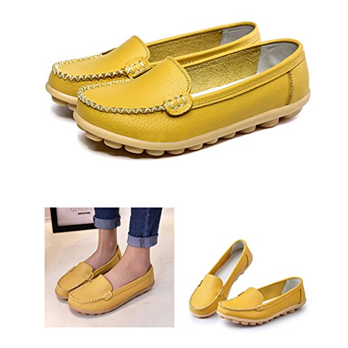 Damen Mokassin Casual Slipper Flatschuhe Low-top Schuhe Erbsenschuhe Leder Fahren Halbschuhe Slippers Gelb