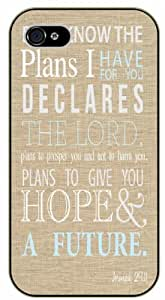 For I know the plans I have for you, declares the Lord - Bible verse iPhone 4s black plastic case - Jeremiah 29:11